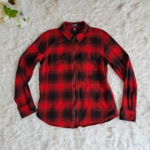 Chaps Sz SM Red Plaid Shirt Flannel Long Sleeved Full Zip Cozy Fall Top College